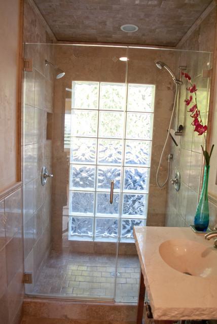 Tile Tile Tile Glass Block Shower And Stone