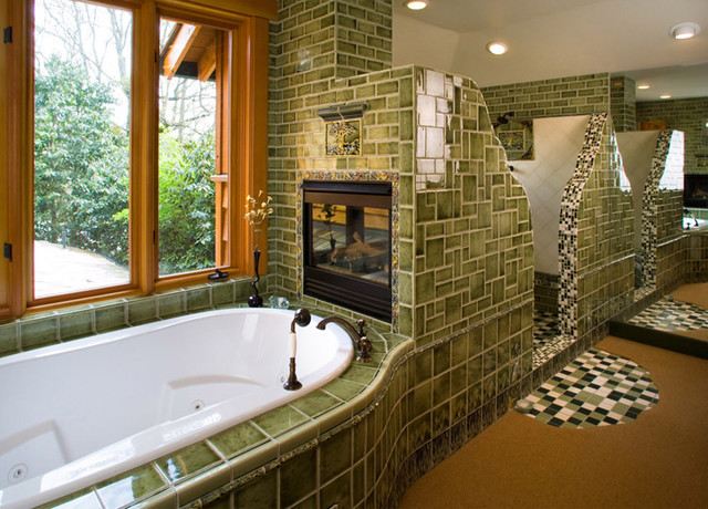Tile Tub With Fireplace Eclectic Bathroom Part 76