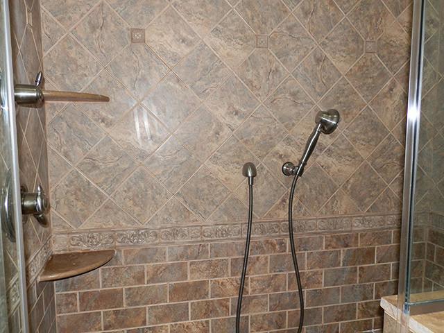 Tiled earth tone bath traditional bathroom other for Bathroom ideas earth tones