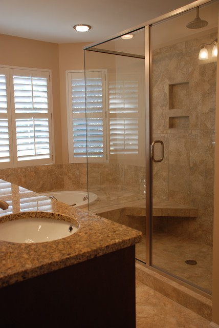 Tiled Shower and Tub traditional-bathroom