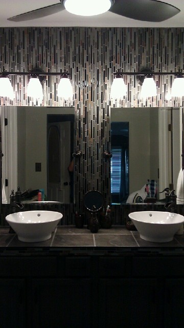 Tiled Vanity Mirrors Contemporary Bathroom Louisville By Barrett Renovation
