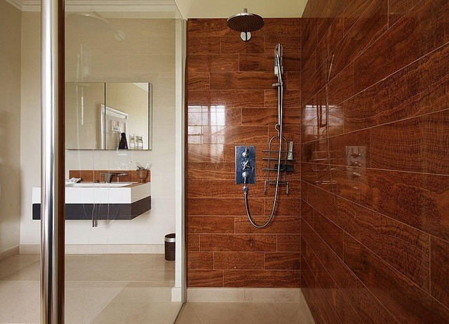 Bathroom Tiles Brown timber brown polished marble - contemporary - bathroom - detroit