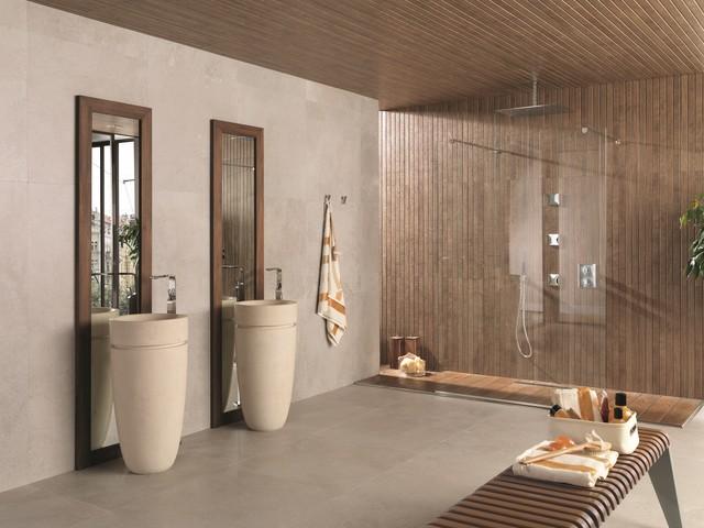 Timber look tiles liston oxford cognac contemporary bathroom