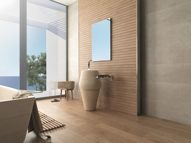 Timber Look Tiles Liston Oxford Natural Contemporary Bathroom