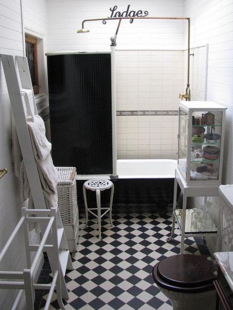 Time Worn Style ~ Black & White Bathroom traditional-bathroom
