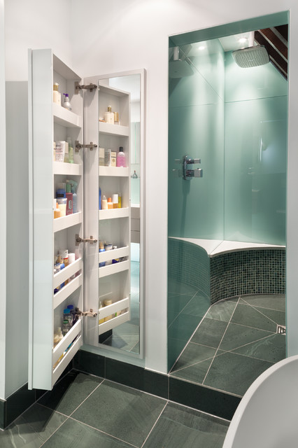 Contemporary bathroom in Other with an alcove shower.