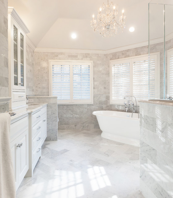 Timeless elegance marble master bath chatham nj for Master bathroom white