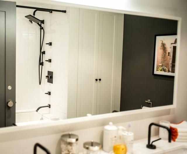 Loft renovation bathroom mirror reflection