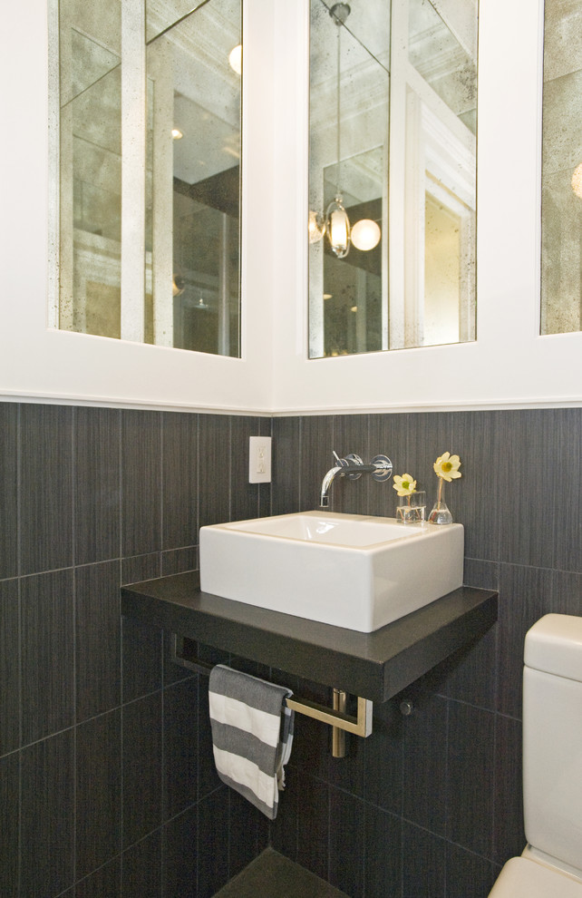 Minimalist gray tile bathroom photo in San Francisco with a vessel sink