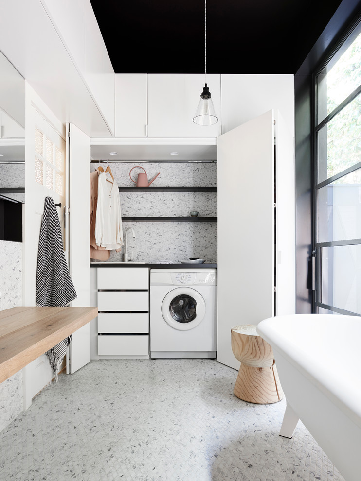 Inspiration for a medium sized contemporary bathroom in Melbourne with a freestanding bath, mosaic tile flooring, white cabinets, a walk-in shower, white tiles, mosaic tiles, white walls and wooden worktops.