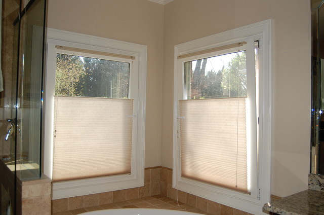 Top down bottom up shades traditional bathroom for Blinds bathroom window