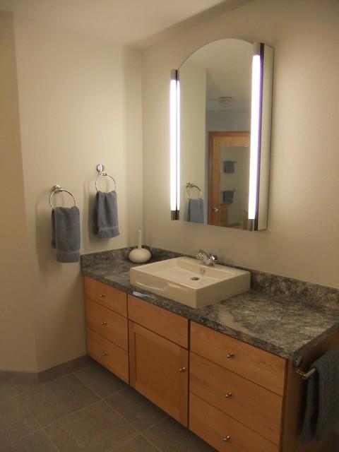 """Top Mount Sink On Maple Vanity And """"Blue Azul"""" Granite"""