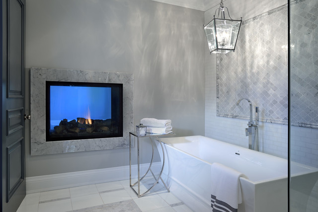 Large trendy master gray tile, white tile and ceramic tile marble floor bathroom photo in Toronto with gray walls
