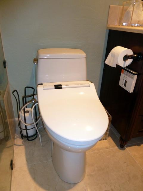 Toto toilet with washlet bidet top contemporary-bathroom