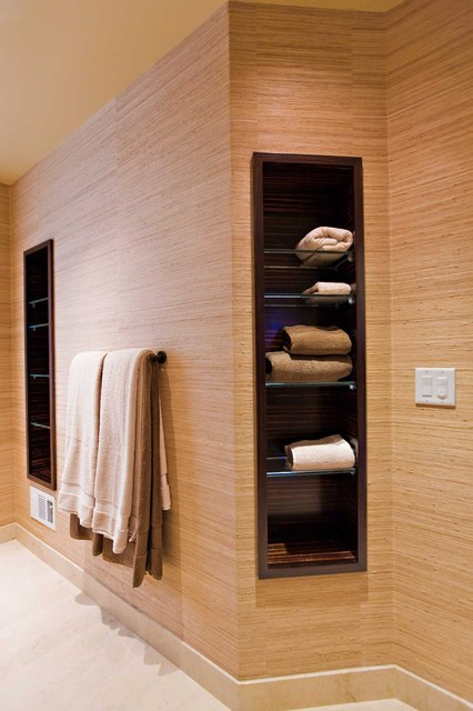 towel storage eclectic bathroom - Bathroom Towel Storage