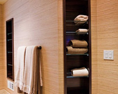 Towel Niche: custom Macassar Ebony veneer cabinetry with glass shelves eclectic bathroom