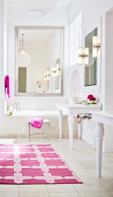 This is an example of a large classic ensuite bathroom in San Francisco with a console sink, an alcove bath, beige tiles and white walls.