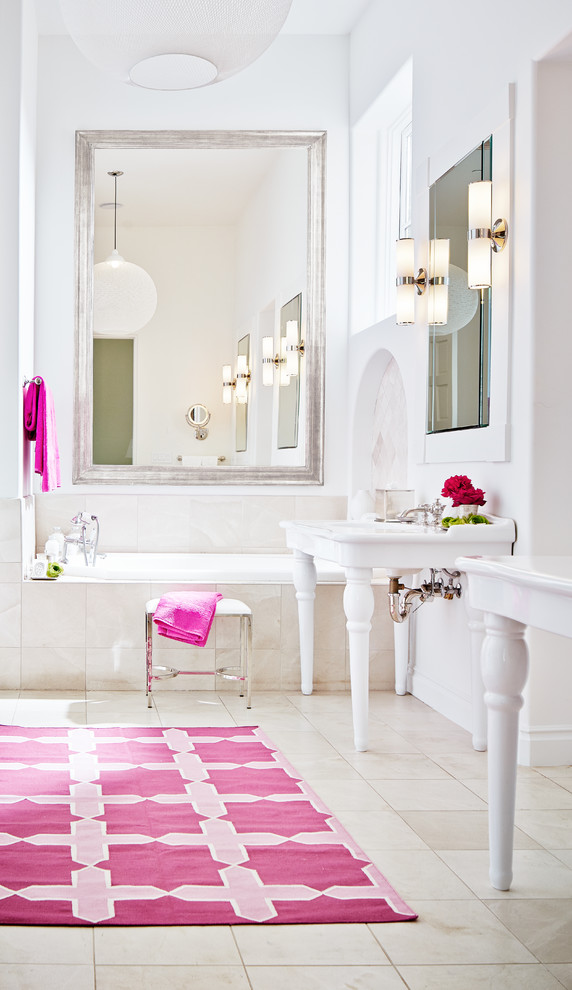 Example of a large transitional master beige tile alcove bathtub design in San Francisco with a console sink and white walls