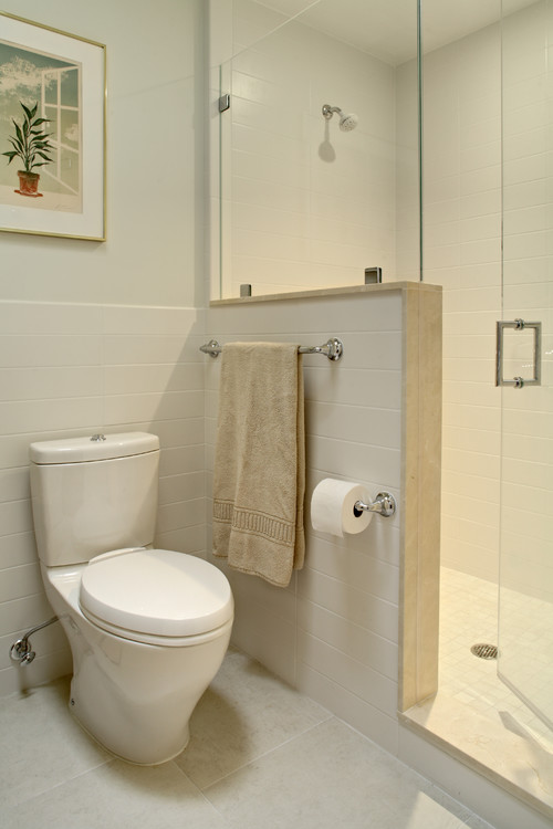Any problem with the glass wall on the half wall leaking for Bathroom designs glass walls