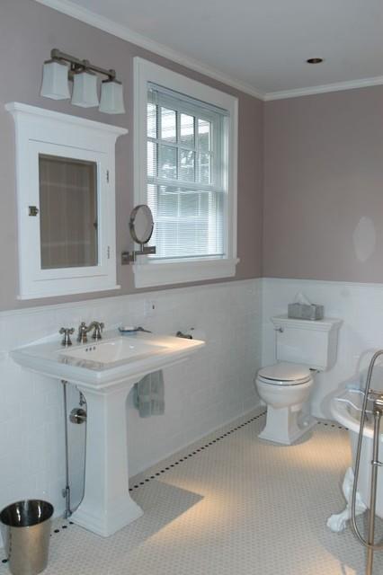 Traditional Bath In Hex U0026 Subway Tiles American Traditional Bathroom