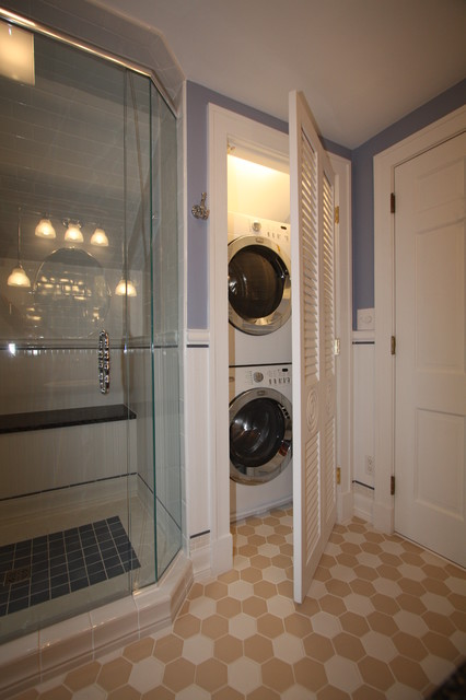 Washer Dryer Traditional Bathroom Cleveland By Architectural Justice