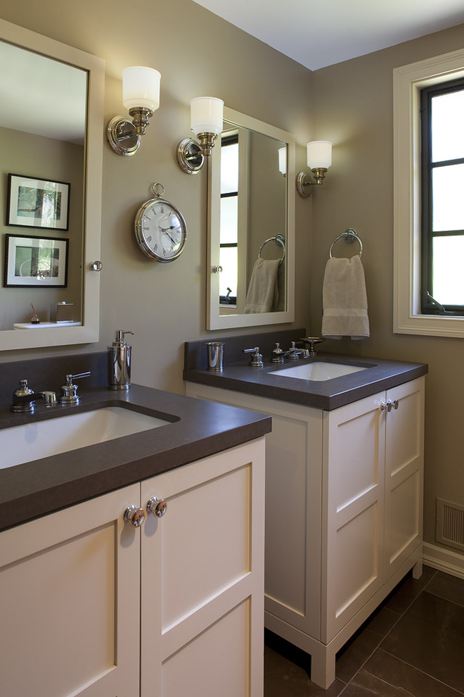 Inspiration for a timeless brown tile bathroom remodel in San Francisco with an undermount sink, shaker cabinets and white cabinets