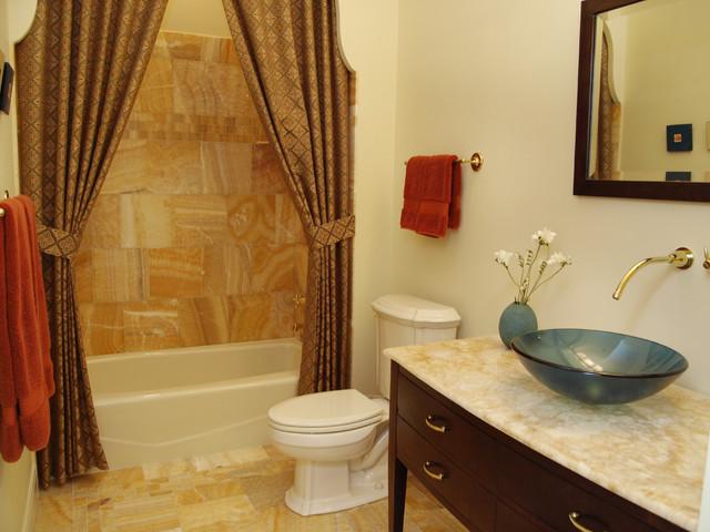 75 Trendy Alcove Bathtub with Onyx Countertops Design Ideas ...