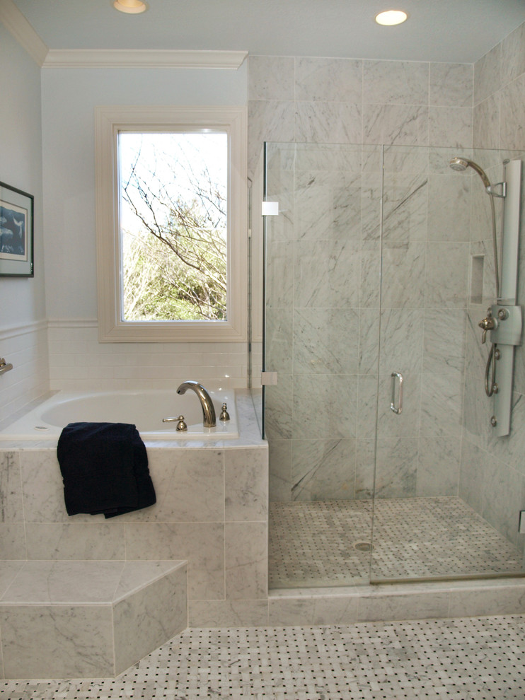Mid-sized elegant master gray tile and marble tile marble floor bathroom photo in Austin with white cabinets, white walls, marble countertops, raised-panel cabinets and a drop-in sink