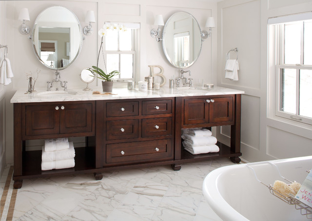 5 foot double vanity. Example of a classic bathroom design in Denver with marble countertops Double Vanity 96 Inch  Houzz