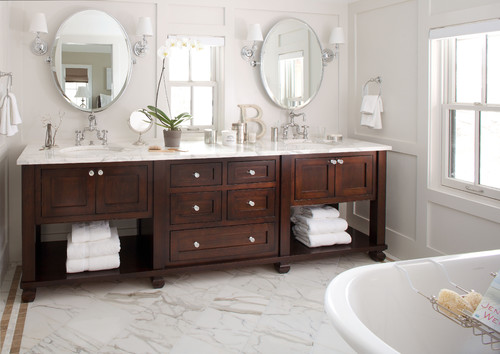 Dark Maple Bathroom Vanity Cabinet White Countertops