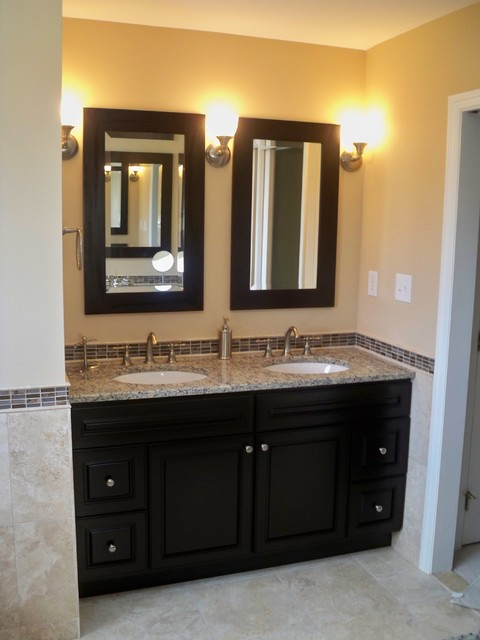 travertine master bath with double vanity makeup vanity On master bathroom double vanity