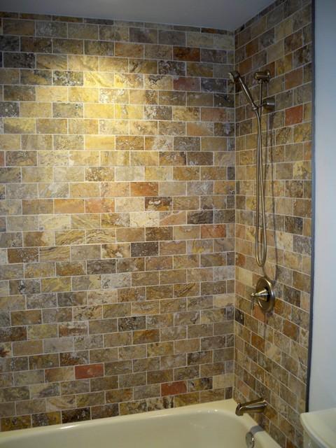 Main Bath Scabos Travertine Traditional Bathroom