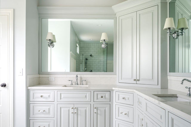 Bathroom - large traditional master white tile and mosaic tile bathroom idea in Cleveland with raised-panel cabinets, white cabinets, gray walls, an undermount sink and quartzite countertops