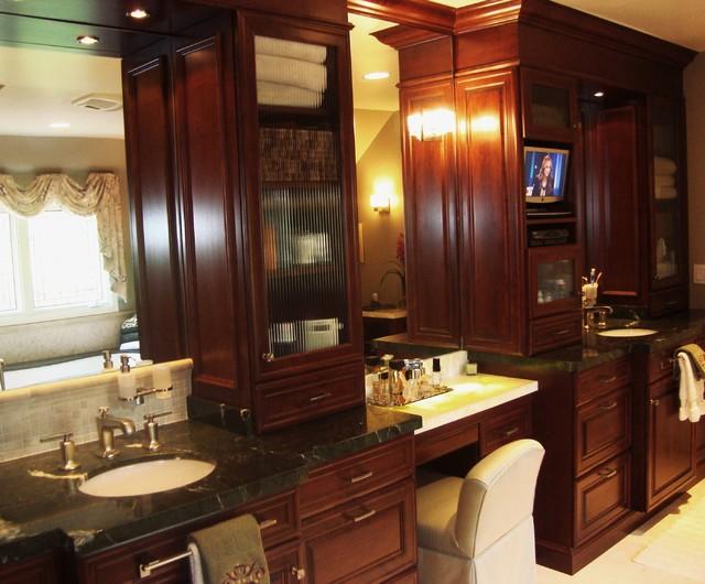 38 Inch Brown Bathroom Vanity with Single Sink, Granite ...