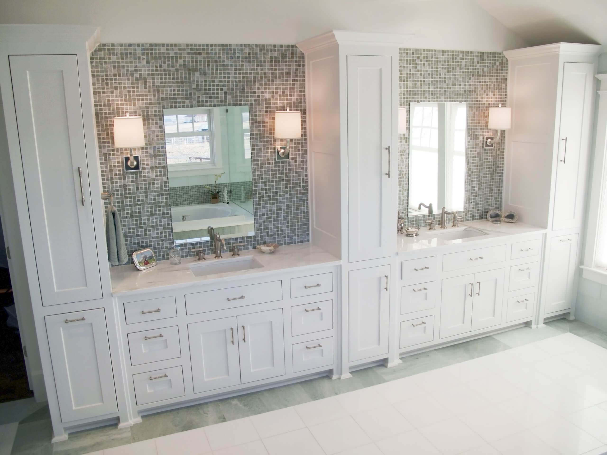 Double Sink Bathroom Vanity With Linen Tower Image Of Bathroom And Closet