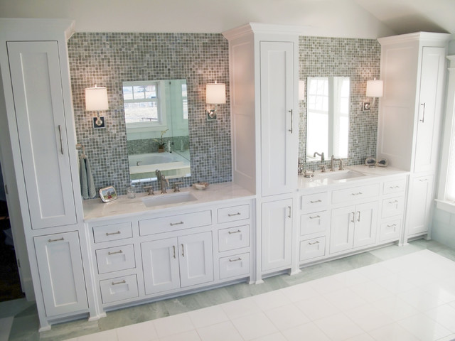 double vanity with center tower. Fresh Colonial Master Bathroom traditional bathroom  Traditional Dallas