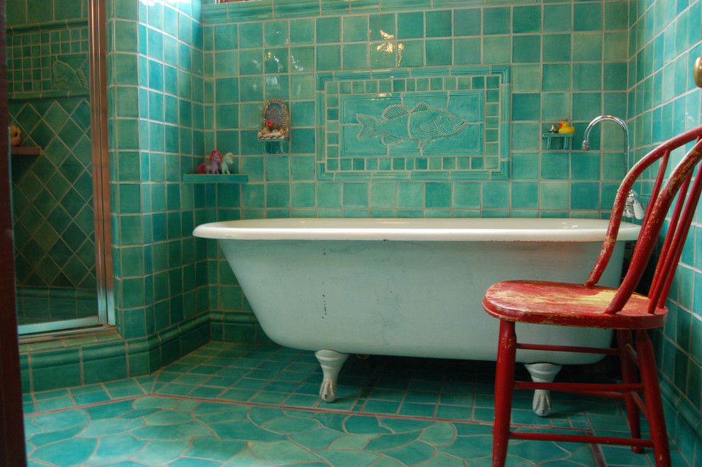 Inspiration for a timeless mosaic tile turquoise floor claw-foot bathtub remodel in Other