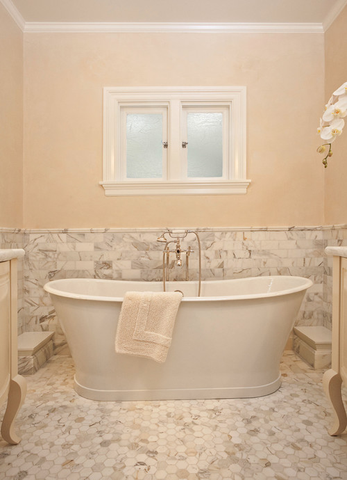 Are the calcutta gold marble tiles on the floor and walls for Houzz com bathroom tile