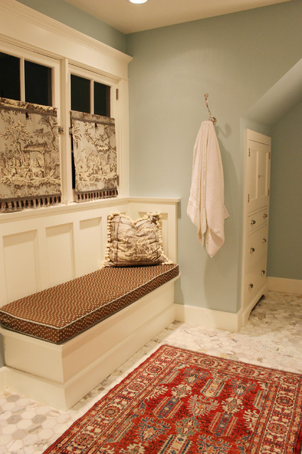 A mix of color and patterns traditional bathroom