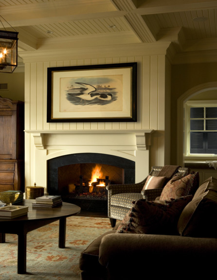 Living room with arched fireplace and ceiling beams for Arched ceiling beams