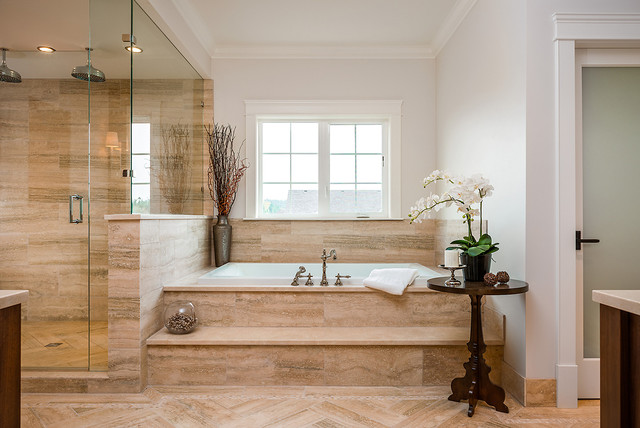 Example Of A Classic Beige Tile Bathroom Design In Vancouver