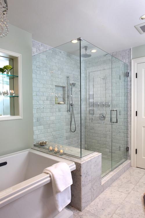 Header needed on the top of the frameless shower?