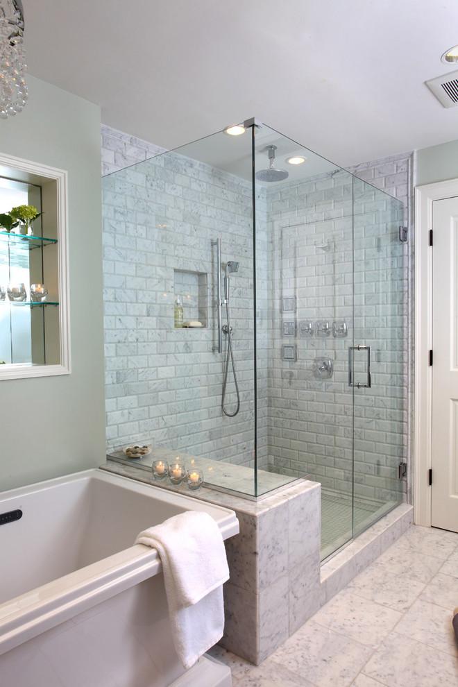 Bathroom - traditional stone tile bathroom idea in Boston