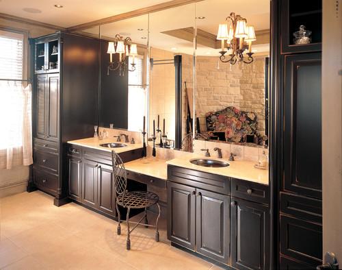 Dark Maple Bathroom Vanity Cabinet White Countertops