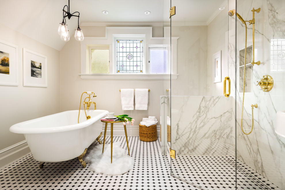 Example of a mid-sized classic master black and white tile and marble tile porcelain tile and multicolored floor bathroom design in Vancouver with a one-piece toilet, white walls, a pedestal sink and a hinged shower door