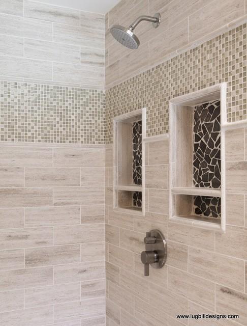 Natural stone tile shower traditional bathroom for Traditional bathroom tile designs