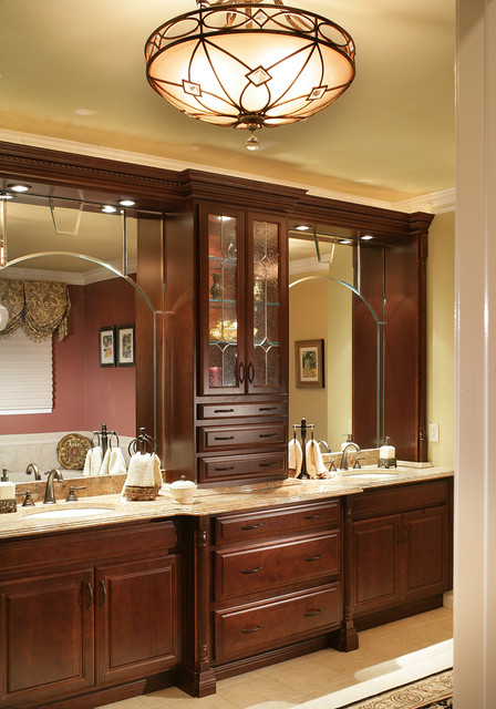 double sink vanity with center cabinet. Bathroom Vanity Cabinets and Lighting traditional bathroom  Traditional
