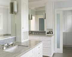 painted face-frame cabinets, mosaic tile, marble counters, frosted glass doors traditional bathroom