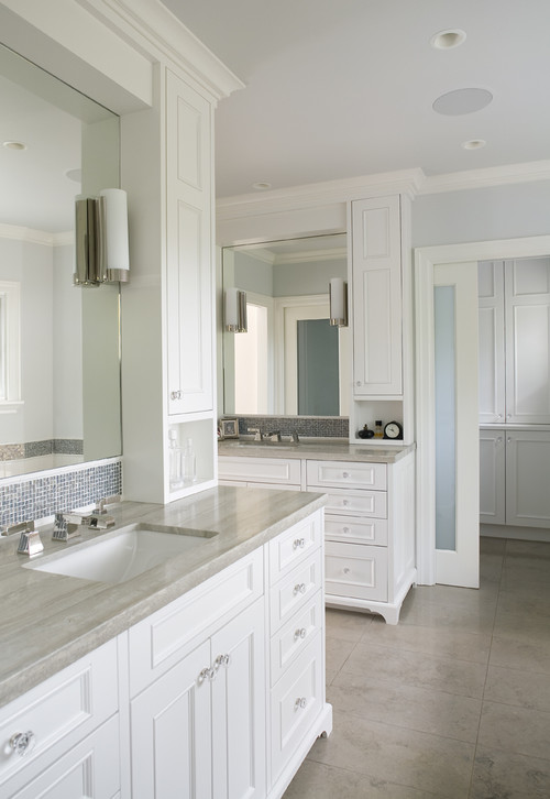 mosaic tile, marble counters, frosted glass doors traditional bathroom