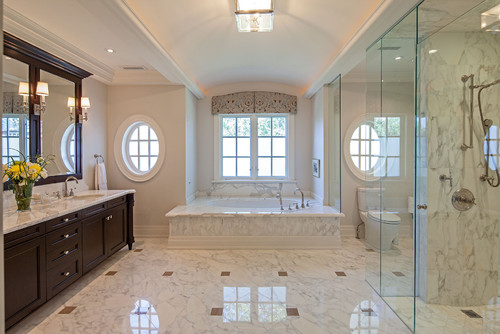 Can You Provide The Name Of The Marble Flooring And Accent Tile? Thanks!